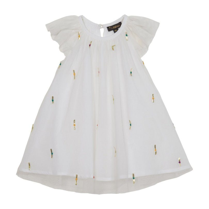 Harper Party Dress, White Embellish