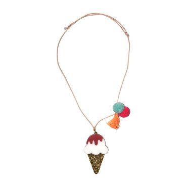Ice Cream Necklace, Gold Glitter