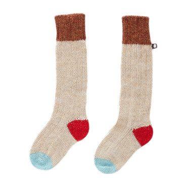 Multicolored Beige Long Socks