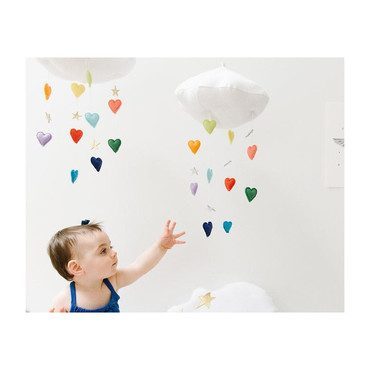 LUXE Cascading Rainbow Heart Cloud Mobile, Bright & Gold