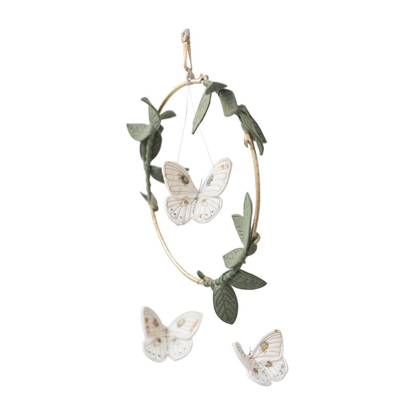 LUXE Luna Moth Mobile in White Gold & Green