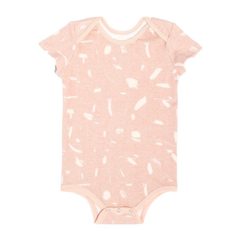 Short Sleeve Onesie, Pink Doodle
