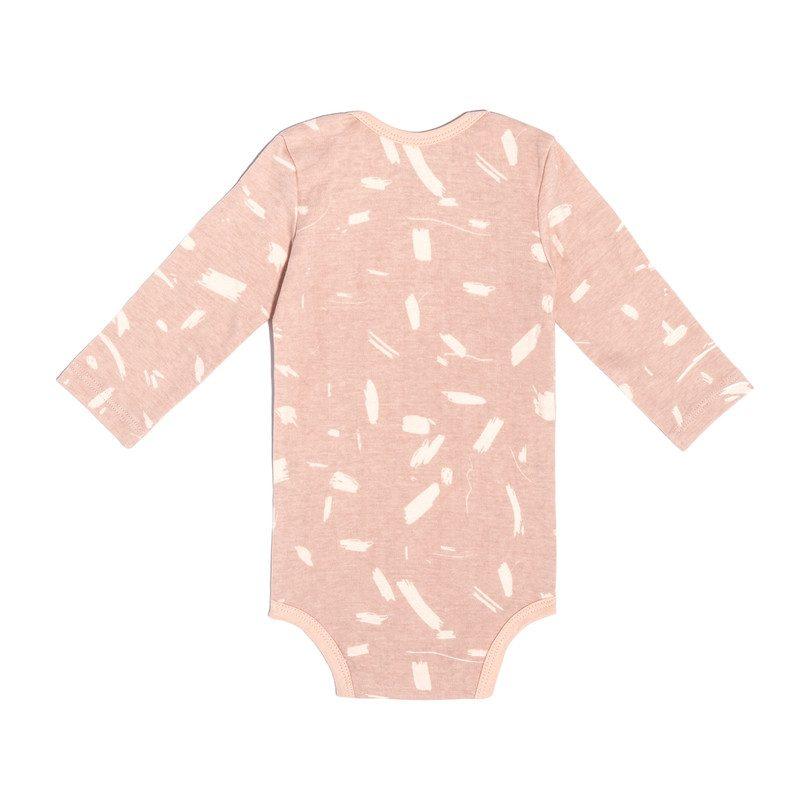 Long Sleeve Onesie, Pink Doodle