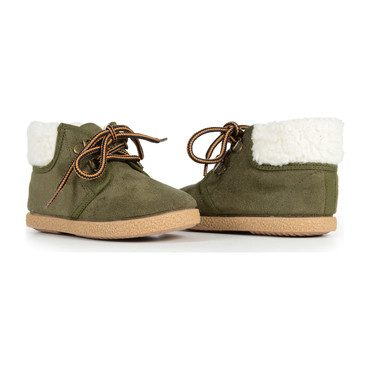 McAlister Booties with Faux Shearling, Olive Suede