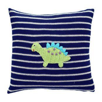 Dinosaur Striped Pillow, Navy