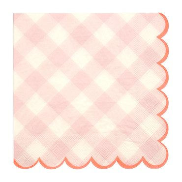 Pink Gingham Napkins, Large