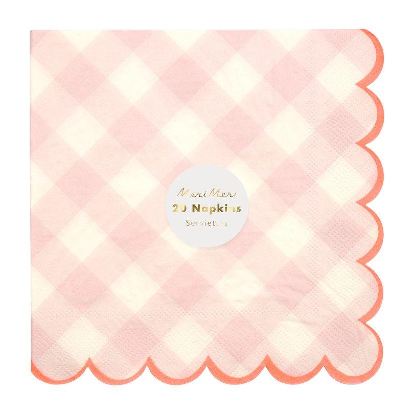 Pink Gingham Napkins, Large