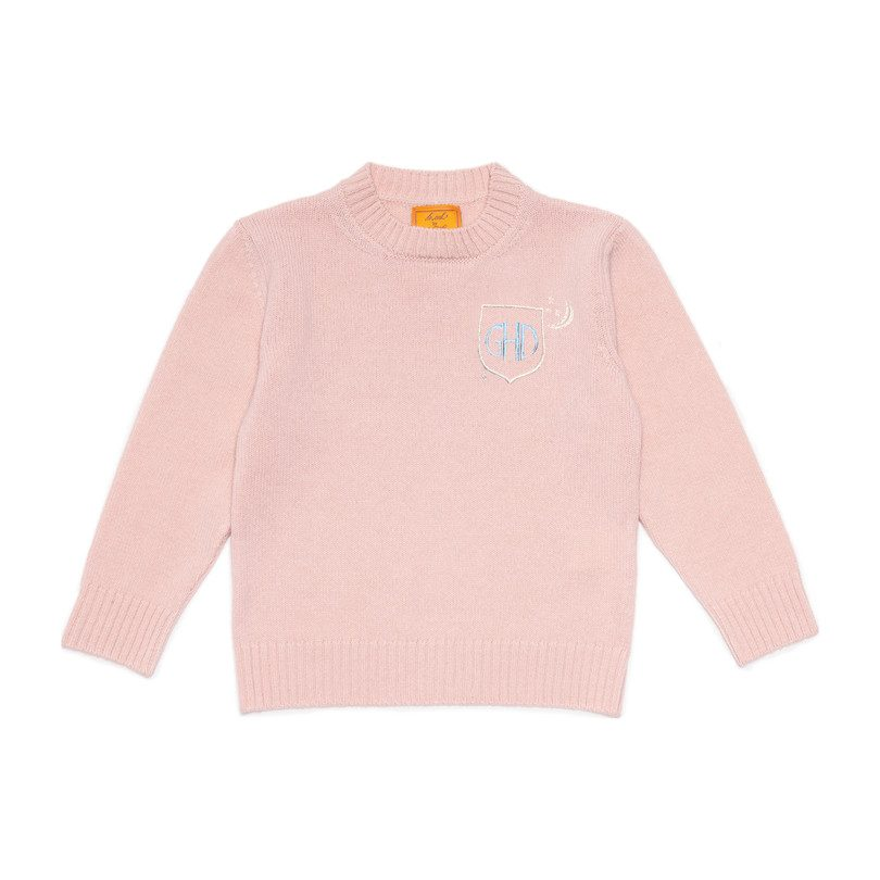 *Exclusive* Monogrammable Kids Petite Crew Sweater, Peony Crest