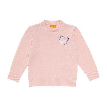 *Exclusive* Monogrammable Kids Petite Crew Sweater, Peony Heart
