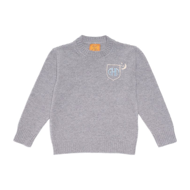 *Exclusive* Monogrammable Kids Petite Crew Sweater, Stone Crest