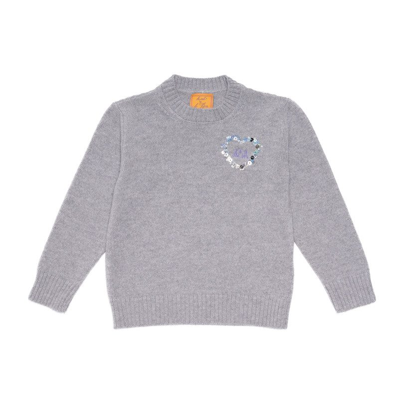 *Exclusive* Monogrammable Kids Petite Crew Sweater, Stone Heart