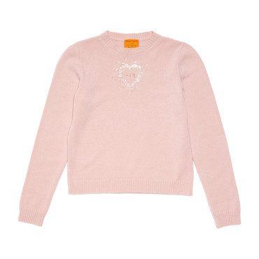 Monogrammable Womens Petite Crew Sweater, Peony Heart