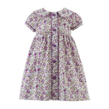 Lilac Floral Button Front Dress