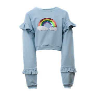 Rainbow Ruffle Sequin Sweatshirt, Blue