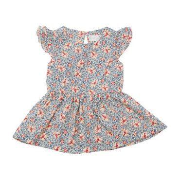 Woven Dress, Blue Dotted Flower