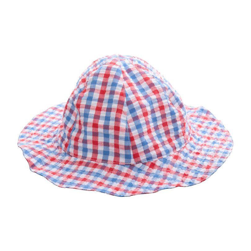 Baby Sun Hat, Red White Blue Seersucker Check