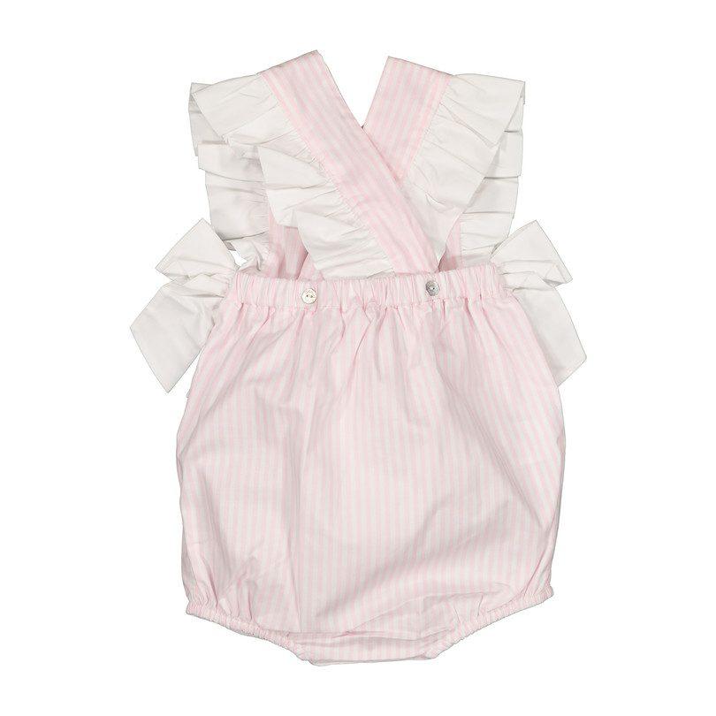 Striped Ruffle Romper, Pink