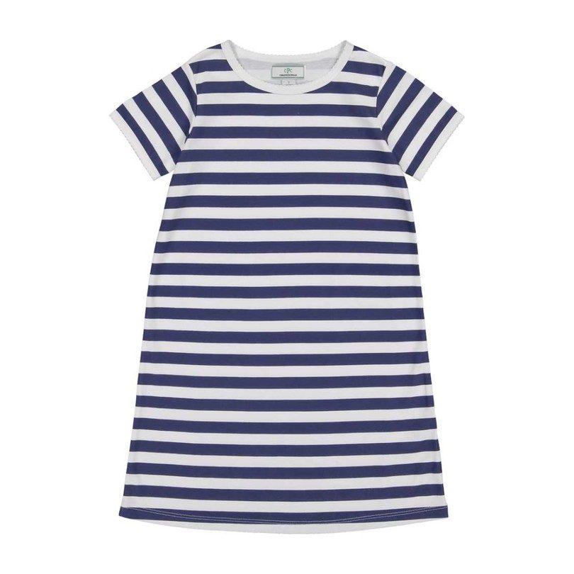 Jillian Short Sleeve Dress, Medieval Blue Stripe