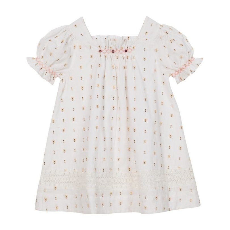 Sally Embroidered Dress, White Cotton Dobby