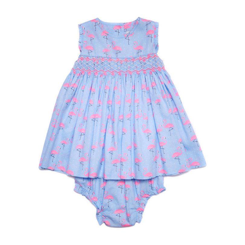 Shirley Baby Dress, Flamingo Print