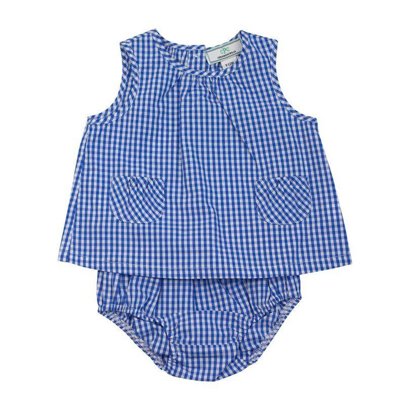 Sophie 2pc Gingham Sunsuit, Blue