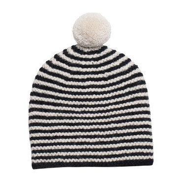 Striped Pom Hat, Black with Ivory Pom
