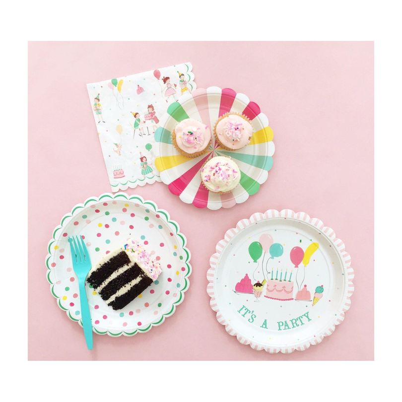 It's a Party' Large Dotty Plates, Multi