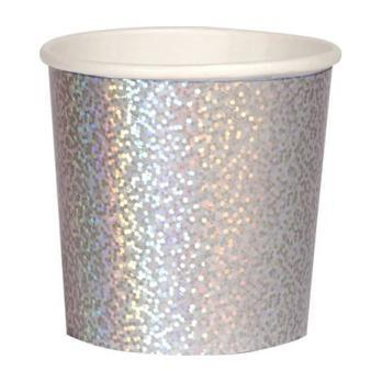 Set of 8 Tumbler Cups, Silver Sparkle