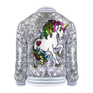 Unicorn Sequin Bomber, Silver