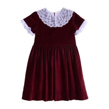 Wine Velvet and Lace Holiday Dress