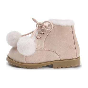 Zoey Pompon Ankle Boots, Pink
