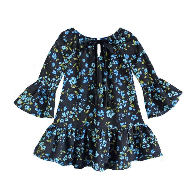 Marianne Peasant Dress, Blue Floral