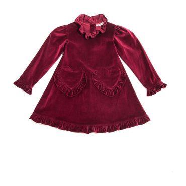 *Exclusive* Girls Velvet Prairie Dress, Burgundy