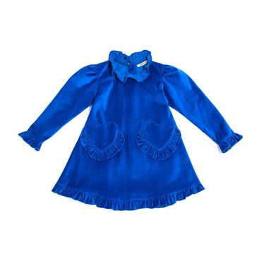 *Exclusive* Girls Velvet Prairie Dress, Royal Blue