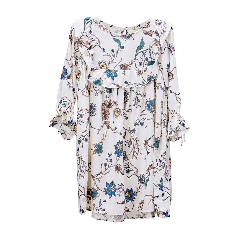 Gracie Bib Dress, White Floral