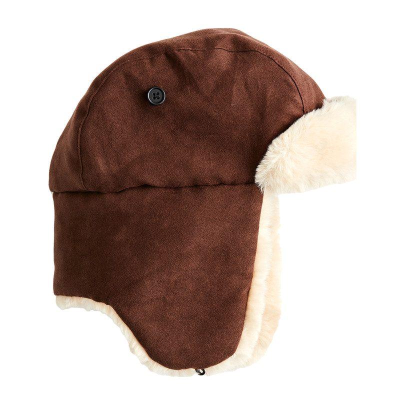 Faux Fur Trapper Hat, Dark Brown