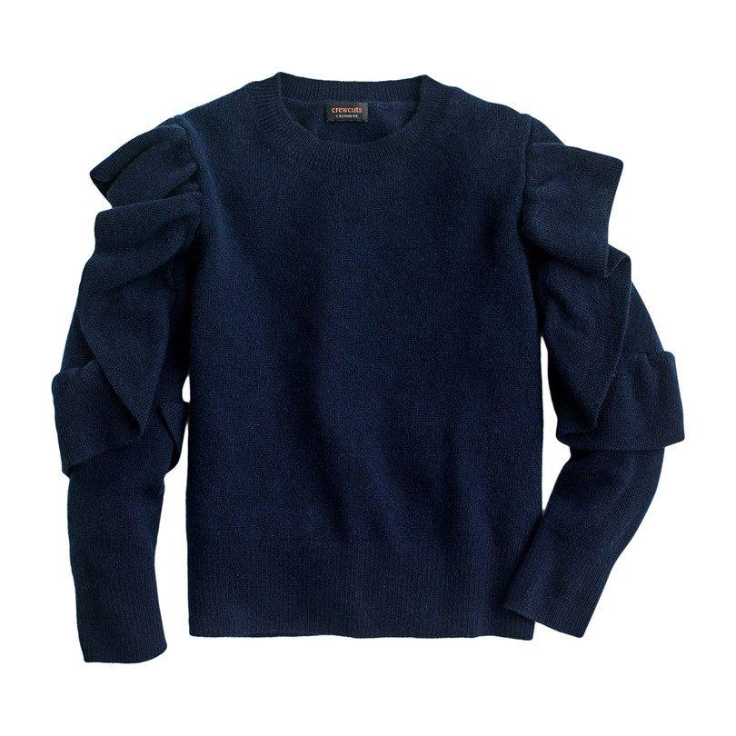 Ruffle Cashmere Sweater, Navy