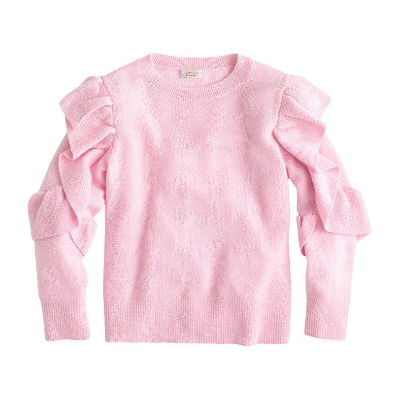 Ruffle Cashmere Sweater, Pink