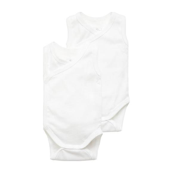 Set of 2 Sleeveless Kimono Onesies, White