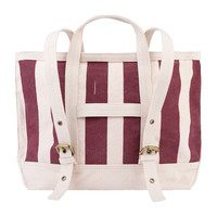 The Animals Striped Tote Backpack, Burgundy