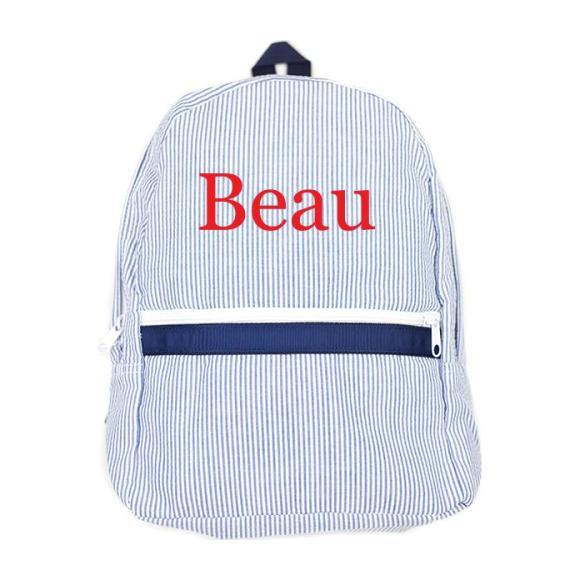 Monogrammed Seersucker Medium Backpack, Navy