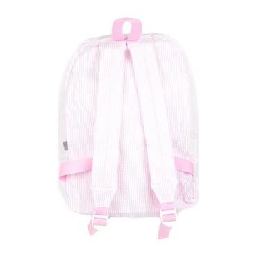 Monogrammed Seersucker Medium Backpack, Pink