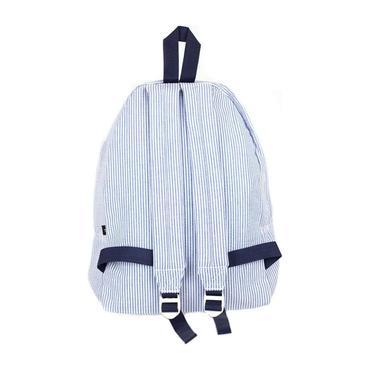 Monogrammed Seersucker Medium Backpack, Navy