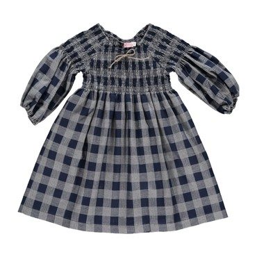 Suzanne Dress, Black and Navy Plaid