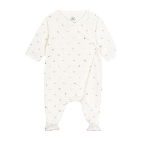 Baby Kimono Footed Pajamas, White Whisker