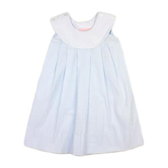Monogrammed Seersucker Dress, Light Blue