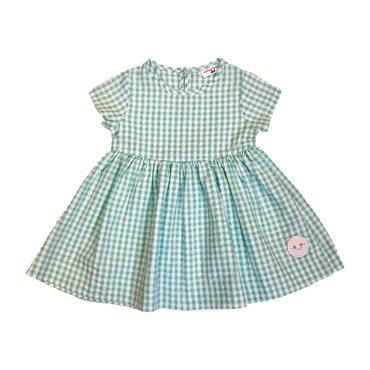 Sunday Dress, Aqua Seersucker Gingham