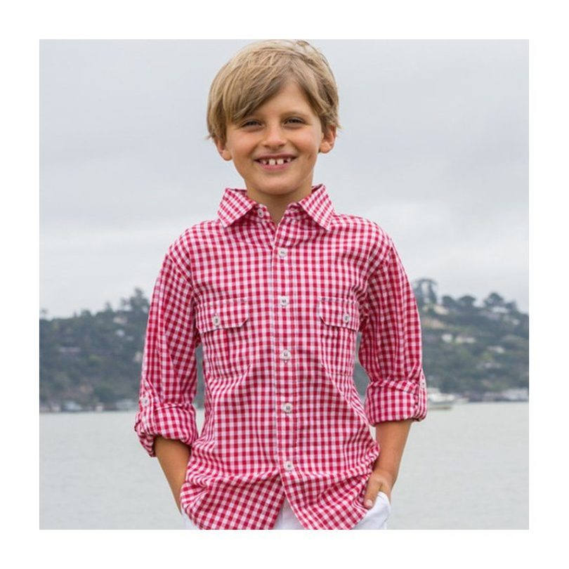 Reece Camp Shirt, Red Gingham