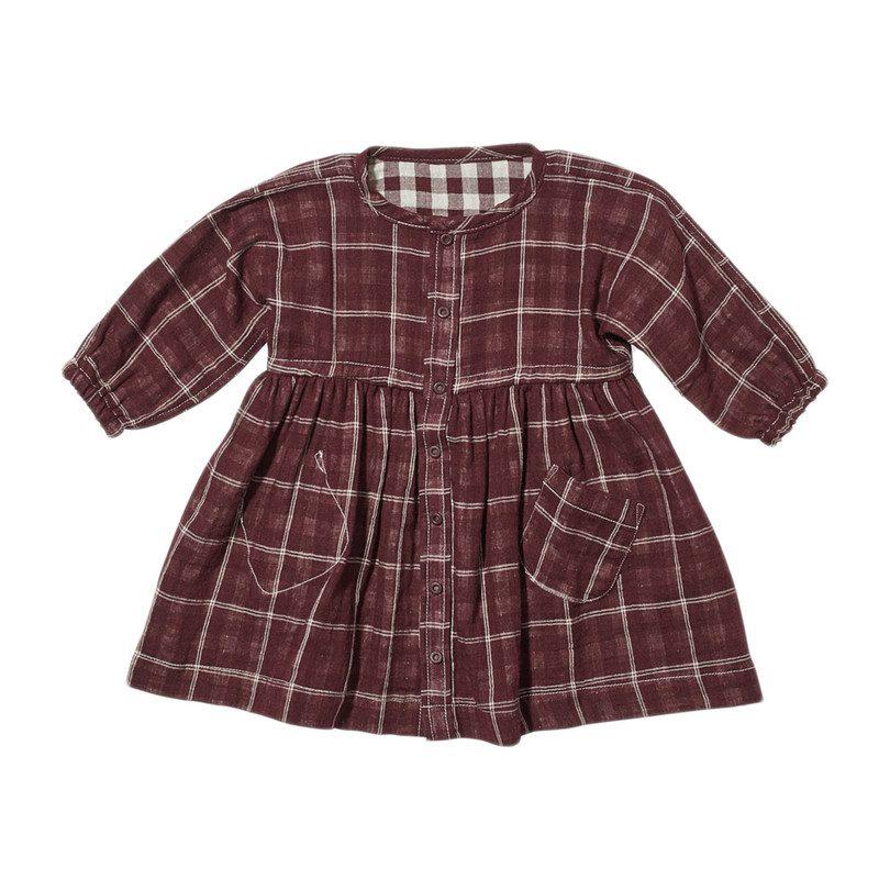 36c66fe903b3 Cecil Baby Dress, Burgundy Plaid - Dresses - Maisonette