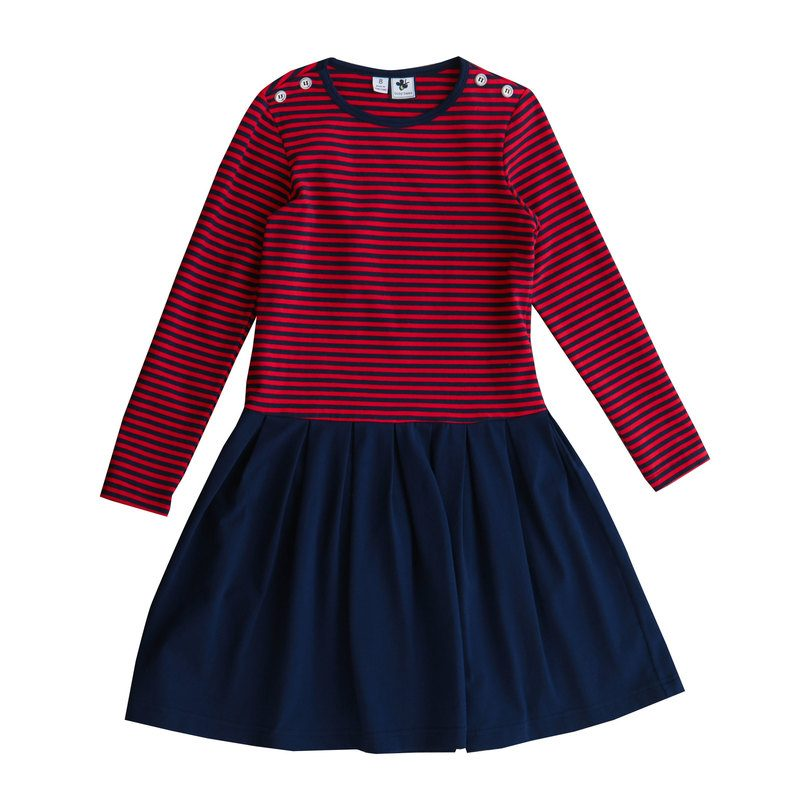 Francesca Button Shoulder Dress, Navy/Red Mini Stripe
